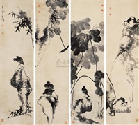 flowers and birds (+ 3 others; 4 works) by niu shihui
