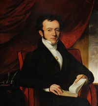 portrait of m. marcelles, honourary consul to cork, in a brown coat with a cameo pinned to a white waistcoat, seated in an interior, on a red chair by daniel maclise