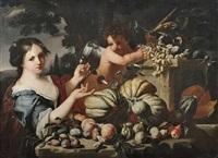 früchtestilleben mit junger frau und putto als allegorie des herbstes by abraham brueghel