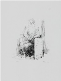 seated woman in armchair by henry moore