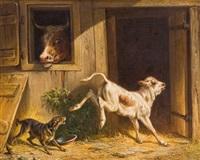bockiges kalb mit hofhund by conradyn cunaeus
