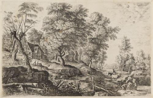 die landschaft mit dem umgestürzten wagen by lucas van uden