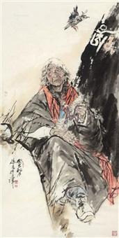 藏族妇人 镜片 设色纸本 by xu zhan