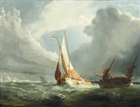 a dutch galliot running into port by miles edmund cotman
