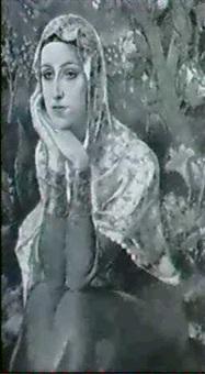 junge frau mit spitzenschleier und rotem gewand, vor    exotischem buschwerk mit bluten und einem vogel by halil-bey mussaijassul