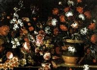 garofani, rose, narcisi, tulipani e altri fiori in due vasi di coccio su un piano di pietra by giuseppe vicenzino