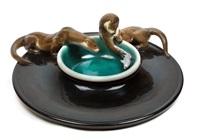 große schale mit fischottern coppa delle lontre by felice tosalli