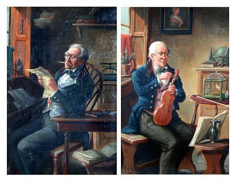 gentleman tuning a violin (+ another; pair) by alexander austen