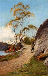 sportsman on a pathway at a loch side by james alfred aitken