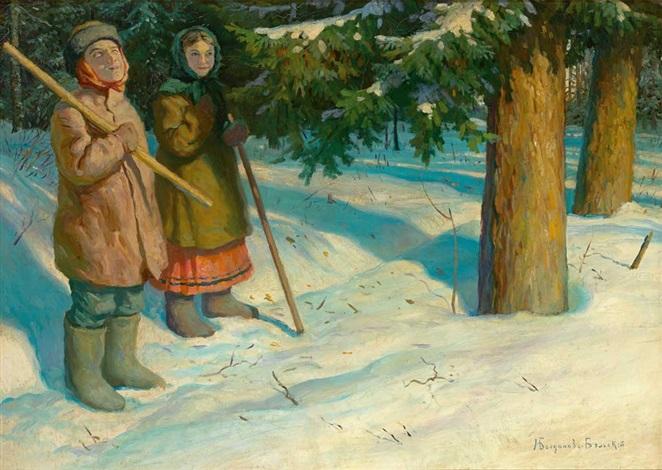 figurenpaar in sonnig beleuchteter tief verschneiter waldlandschaft by nikolai petrovich bogdanov belsky