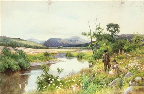 children playing by a stream two children fishing by a stream pair by walter follen bishop