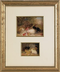 sketches of rabbits (2 works in 1 frame) by mary russell smith