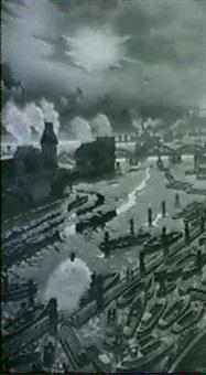 udsigt over hamborg havn by a. gutowski