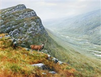 scottish glen with stag on an outcrop by rodger mcphail