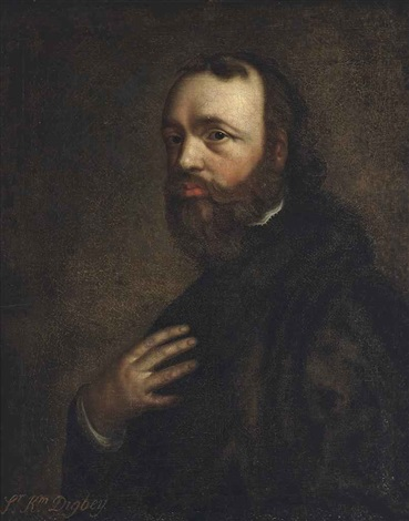 portrait of sir kenelm digby 1603 1665 half length in a black coat by sir anthony van dyck