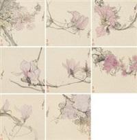 花卉 (八帧) 镜心 设色纸本 by liang yu