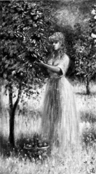 young woman picking apples by philip a. corley