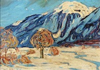 landscape. presumably the mountain pitz palü by carl arp