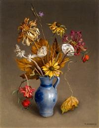 herbst-sträusschen (mit grau-blauer vase) by rudolf wacker
