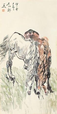 饮马图 horses by liu boshu