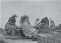 fiskerkoner der ordner sild på stranden by hans christian koefoed