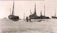 pecheurs sur la plage de heyst by florimond (flori-marie) van acker
