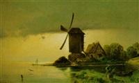 windmühle an abendlichem ufer by otto geleng