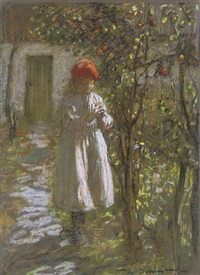 a young girl in an orchard (+ the harvest; pair) by mark