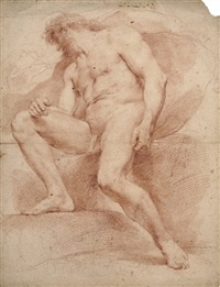 a seated male nude by andrea sacchi