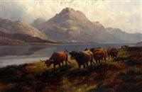 highland roamers loch maree n.b. (+ highland cattle loch ness n.b.; pair) by h.r. hall