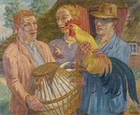 bauernpaar mit hühnerverkäufer by henk melgers