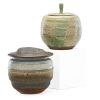 two lidded vessels by karen karnes