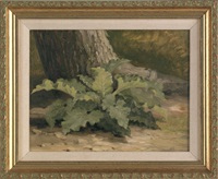 landscape with a large fern by xanthus russell smith