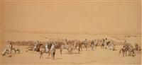 l'arrivée des cavaliers by louis eugène ginain