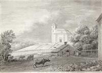 vangs kirke taget fra præstegaardens vestre side by johannes flintoe