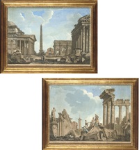 ruins of ancient rome, after giovanni paolo panini (+ another; 2 works) by johann sebastian müller