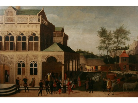 a wedding and figures merrymaking in the grounds of a manor house with an extensive landscape beyond by abel grimmer