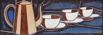 pot and three cups by axel johann salto
