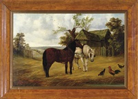 two fox terriers on the chase (+ 2 others; 3 works) by willy meller
