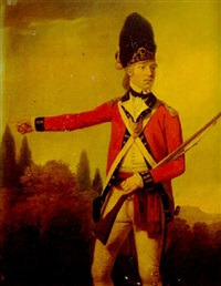 portrait of robert hamilton-buchanan in the uniform of the royal scots fusiliers, landscape beyond by david allan