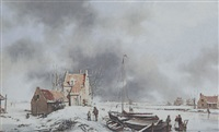 a dutch winter landscape by a. de groote