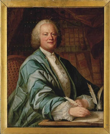 portrait of a gentleman half length in a blue robe holding a quill in his right hand in his study by french school 18