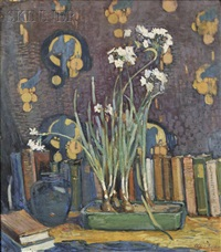 still life with narcissus and books by clara d. davidson