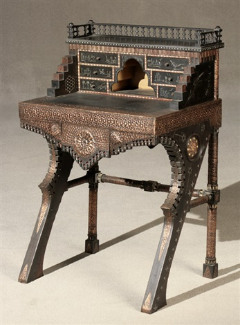 Carlo Bugatti Metal And Bone Inlaid Hammered Copper Mounted Black Lacquered Wood Writing Desk