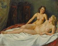 zwei weibliche akte by wilhelm hempfing
