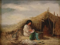 a nomadic woman preparing a melon by joseph wolfram