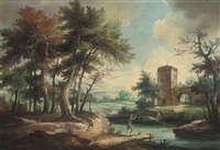 a wooded river landscape with two figures on the river bank before a fortified gateway by anglo-dutch school (18)