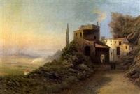 blick von einer italienishchen villa in eine ebene mit vulkan by caesar bimmermann