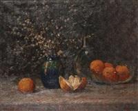 nature morte aux oranges et chaton de saule by léon riket