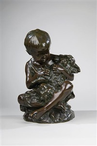 child with dog by emile adolphe monier
